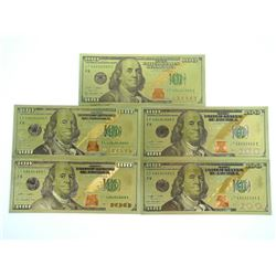 Lot (5) USA 24kt Gold Leaf $100.00 Collector Notes