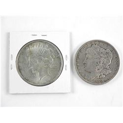 Lot (2) USA Silver Dollars 1890 & 1925.