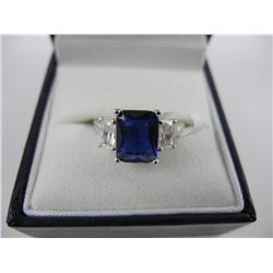 925 Silver Sapphire blue and Clear. Size 6