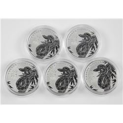 Lot (5) .9999 Fine Silver 'Snake' Coins Proof $20.
