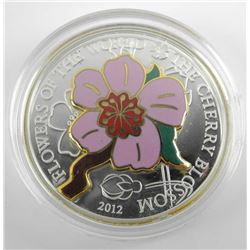 2012 - Cherry Blossom, Silver Coin with Enamel