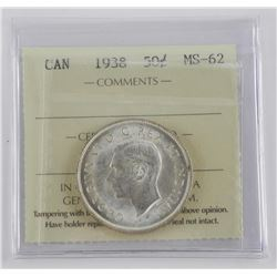 1938 Canada Silver 50 Cent MS-62 ICCS.