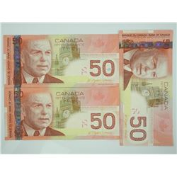 Lot (3) 2004 Bank of Canada Fifty Dollar Note