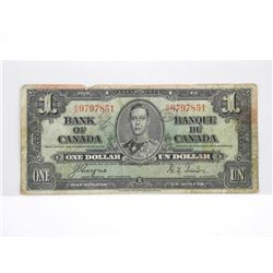 Bank of Canada 1937 $1. C/T, R/N.