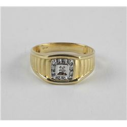 Estate Gents 10kt Gold Diamond Ring Rolex Style Sh