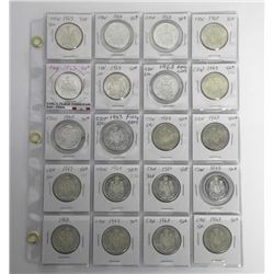 Lot (20) 1963 CAD Silver 50 Cent Coins. Dealer Sto