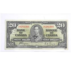 Bank of Canada 1937 Twenty Dollar Note. C/T
