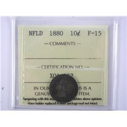 NFLD 1880 Silver 10 Cents F-15 (ICCS) (MCE)
