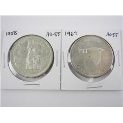 Lot (2) Canada Silver Dollars 1958 and 1967. (AU55