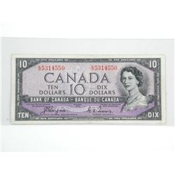 Bank of Canada 1954 Ten Dollar Note. Devil's Face.