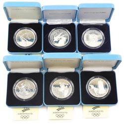 Lot (6) Albertville Olympic Coins .900 Silver (LE)