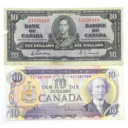 Lot (2) Bank of Canada Ten Dollar Notes. 1971 and