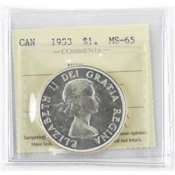 CAN 1953 $1 NSF MS65. ICCS.