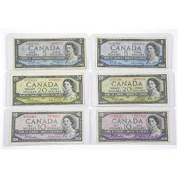 Lot of Canada 1954 Modified Portrait Banknotes. Tw