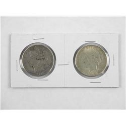Lot (2) USA Silver Dollars: 1897 and1923