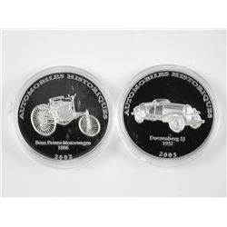 Lot (2) .9999 Fine Silver Historical Cars 1- Franc