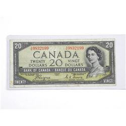 Bank of Canada 1954 - Twenty Dollar Note. C/T BC-3