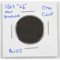 1864 'L6' New Brunswick One Cent. (AU55)