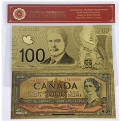 Lot (2) 24kt Gold Leaf Collector Notes - 100.00 an
