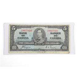 Bank of Canada 1937 - Five Dollar Note. C/T