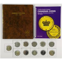 Canada 11pc Silver Dollars. Collection with Album