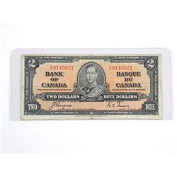 Bank of Canada 1937 Two Dollar Note (F) (C/T)