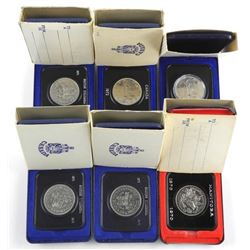 Lot (6) Cased Nickel Dollars Canada