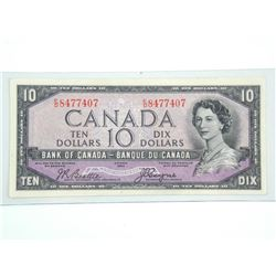 Bank of CANADA 1954 Ten Dollar Note. EF. B/C Devil