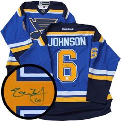 E. Johnson (Blues) Jersey Signed with C.O.A. (OXR)