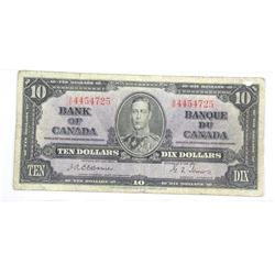 Bank of Canada 1937 Ten Dollar Note. Osbourne-Towe