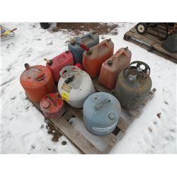 Pallet of gas cans & 20 lb propane tank