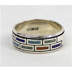 Southwest Sterling Inlay Ring, Size 11