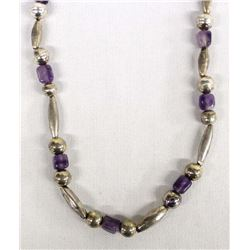 Navajo Sterling and Amethyst Bead Necklace