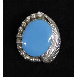 Mexican Taxco Sterling Turquoise Pin Pendant