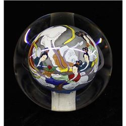 Glass Orb Reverse Painting Japanese Paperweight