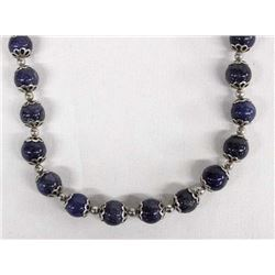 Sodalite and Sterling Bead Necklace