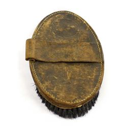 Antique Leather Horse Curry Brush