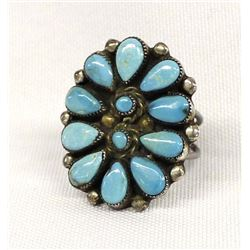 Vintage Navajo Sterling Turquoise Cluster Ring
