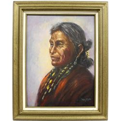 Original Navajo Oil Painting by Mary Mills