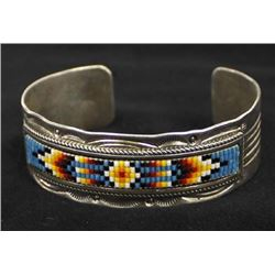 Vintage Navajo Sterling and Bead Bracelet