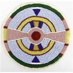 Native American Crow Beaded Rosette Medallion