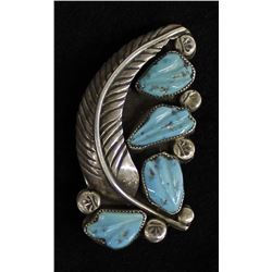 Vintage Cochiti Sterling Turquoise Pin Pendant