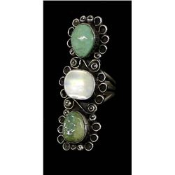 Navajo Silver Turquoise & Mother of Pearl Ring, 7