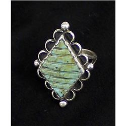 Vintage Navajo Sterling Turquoise Ring, Size 8.25