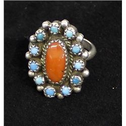 Vintage Navajo Sterling Coral Turquoise Ring, Sz 7