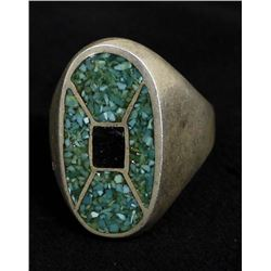 Vintage Navajo Sterling & Chip Inlay Ring, Sz 11.5