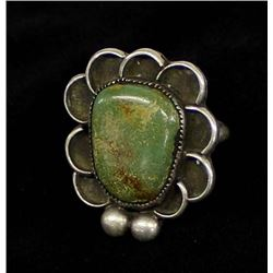 Vintage Navajo Sterling Turquoise Ring, Size 6.5