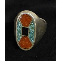 Vintage Navajo Sterling & Chip Inlay Ring, Sz 10.5