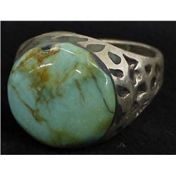 Vintage Navajo Sterling Turquoise Ring, Size 10.5