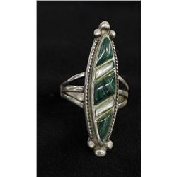 Navajo Sterling Malachite & Mother of Pearl Ring